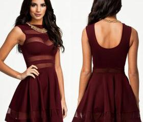 Hot Burgundy Dull-red Mesh Panel Club Skater Dress Prom Dress