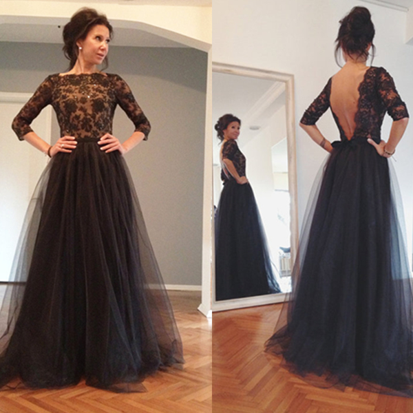 Hot Fancy Black Lace Appliques Half Sleeves High-neck Floor Length ...