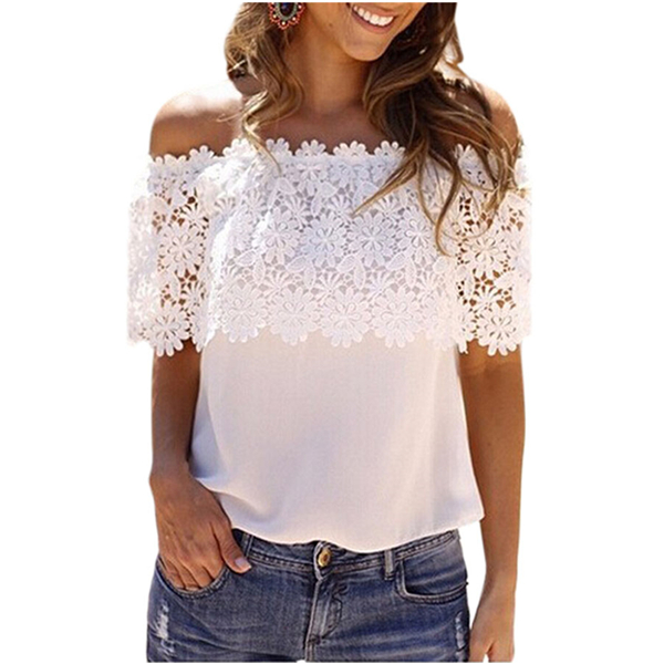 One Size White Lace Spliced Off Shoulder Chiffon Top