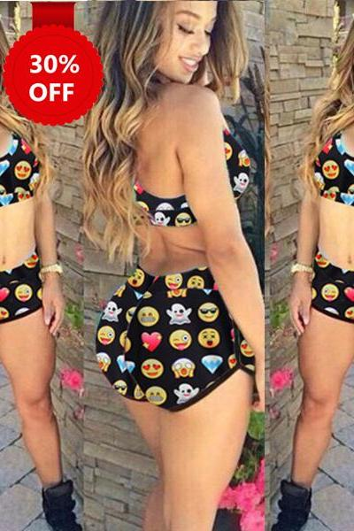 One Size Fashion Funny Emoji Print Sporty Bathing Suit