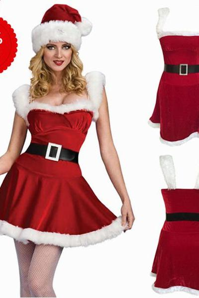 Red Deluxe Jingle Sexy Costume Women Santa Christmas Costume
