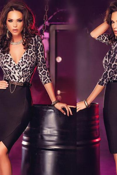 Luxury Leopard Print Top Wrap Midi Dress with Belt Women Fashion Dress