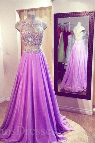 Light Purple Sheering Two-piece Round Neckline Sweep Train Prom Dress Long Formal Dress