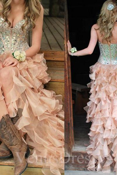 2016 Hi-Lo Prom Dresses with Corset Bodice Sweetheart Party Dresses/Cocktail Dress with Crystals/Rhinestones/Beading