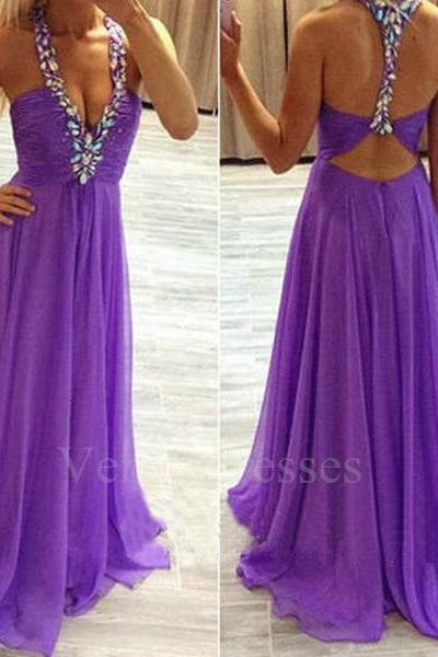 Sexy Rhinestones Regency V-neck Sweep Train Prom Dress with Backless