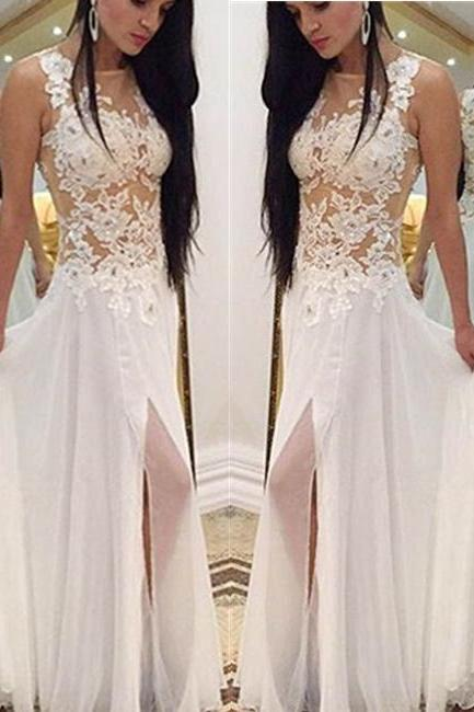 White Sheering Lace Appliques Round Neckline Slit Floor Length Prom Dress White Graduation Dress