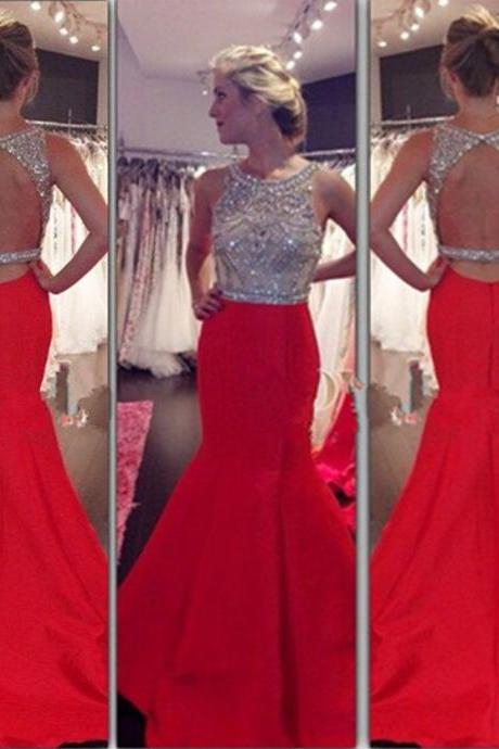 Hot Red Shiny Beaded Backless Mermaid/Trumpet Prom Dress Evenig Party Dress