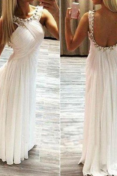 Unique Rhinestones White Round Neckline Backless Sweep Train Prom Dress Wedding Party Dress Formal Dress