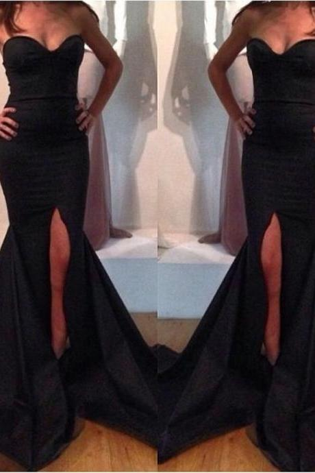 Alluring Black Mermaid/Trumpet Sweetheart Neckline Sweep Train Prom Dress Evening Dress