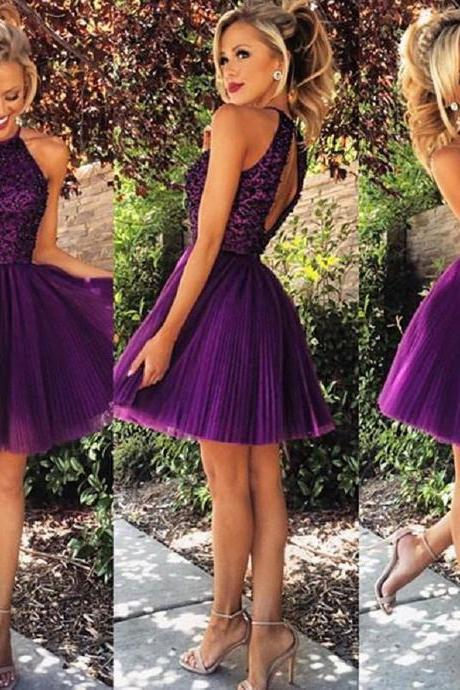 Custom Made Purple Lace Ball Gown Halter Neckline Mini Cocktail Dress Graduation Dress Wedding Party Dress