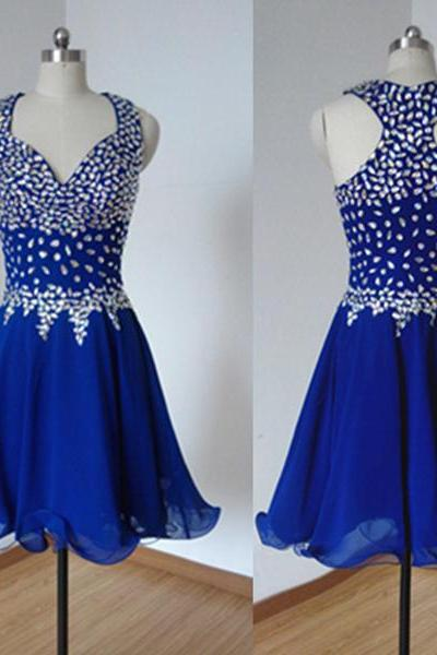 Custom Made Royal Blue Rhinestones A-line Sweetheart Neckline Mini Graduation Dress Party Dress