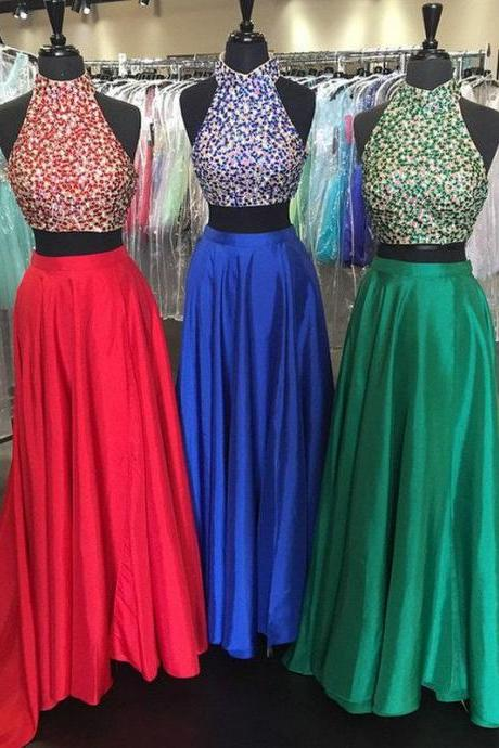 Custom Made Beaded Bodice High-neck Two-piece Sweep Train Prom Dress Evening Dress Party Dress